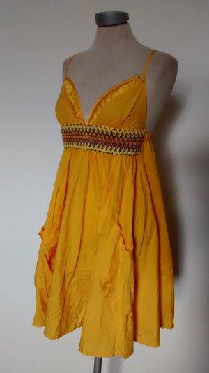 Miss Sixty Trägerkleid Gr. XS 34 gelb Sommerkleid Baumwolle goa hippie ethno