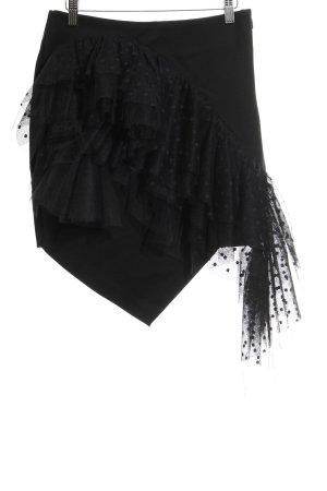Miss Sixty Falda de tul negro estampado a lunares look casual