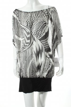 Miss Sixty Tunika weiß-schwarz abstraktes Muster Casual-Look