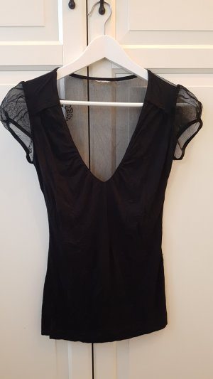 Miss Sixty V Top Rücken durchsichtig Shirt schwarz m
