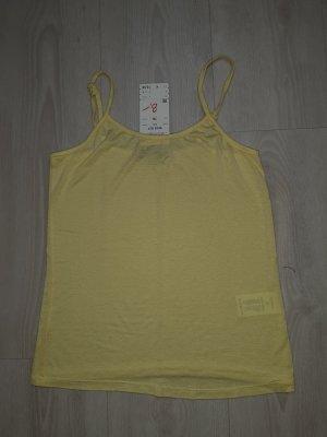 Haut à fines bretelles jaune-jaune primevère tissu mixte
