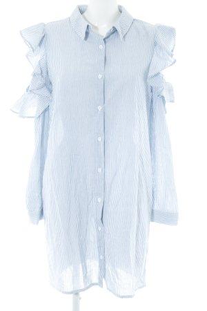 Missguided Babydollkleid weiß-himmelblau Streifenmuster College-Look