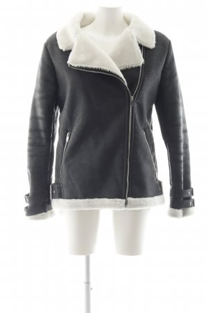 Missguided Bikerjacke anthrazit-weiß Biker-Look