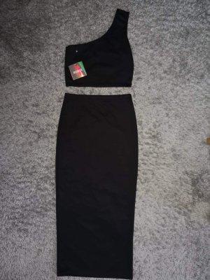 Missguided Falda de talle alto negro