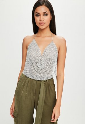 Missguided Blusa sin espalda color plata