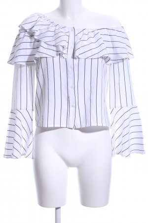 Missguided Carmen Blouse white-black striped pattern casual look