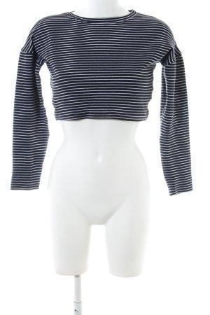 Missguided Cropped Top schwarz-weiß Streifenmuster Casual-Look