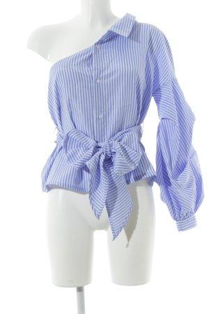 Missguided Hemd-Bluse blau-weiß Streifenmuster Segel-Look