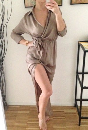 Missguided Hemdkleid Satin Hellbraun Taupe Kleid Maxi