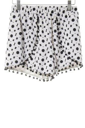 Missguided Short taille haute blanc-noir motif de fleur style mode des rues