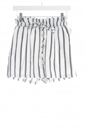 Missguided Short taille haute blanc cassé-noir motif rayé style décontracté
