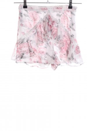 Missguided Hot Pants creme-pink Blumenmuster Casual-Look