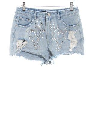Missguided Jeansshorts blau Street-Fashion-Look