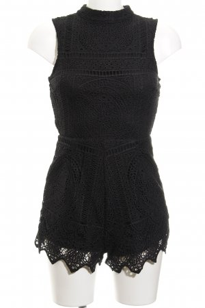 Missguided Jumpsuit schwarz Lochstrickmuster Casual-Look
