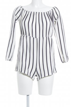 Missguided Jumpsuit schwarz-weiß Streifenmuster Casual-Look