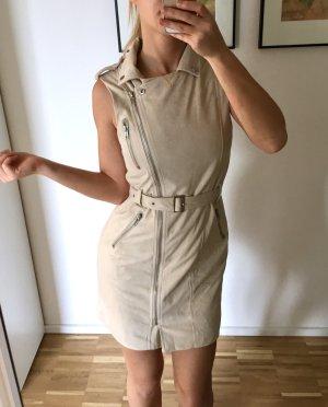 Missguided Kleid 34 XS Wildleder Nude Beige Lederkleid Weste