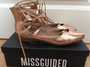 Missguided Lace Up Pointed Flats Roségold