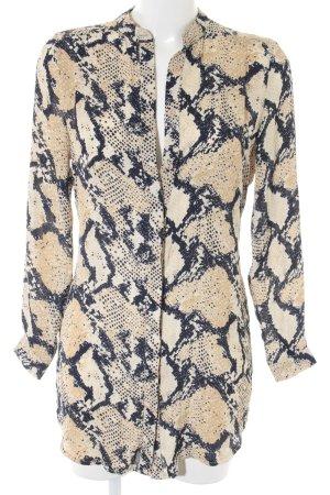 Missguided Langarm-Bluse sandbraun-dunkelblau Animalmuster Animal-Look