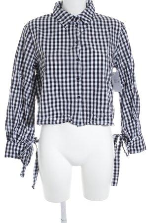 Missguided Langarmhemd weiß-schwarz Karomuster Casual-Look