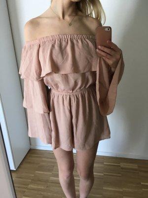 Missguided Petite Jumpsuit Volants S 36 Rose Nude blogger