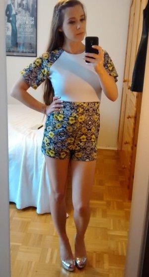 Missguided Playsuit Gr. 36 S Overall Jumpsuit weiß sexy floral blumen mini kurz