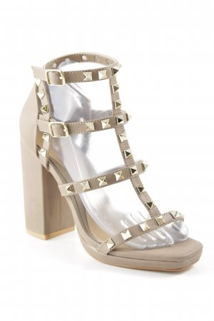 Missguided Strapped High-Heeled Sandals beige-gold-colored elegant