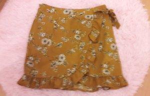 Missguided Rock Highwaist Blumen Mustard Senf Wrap 38
