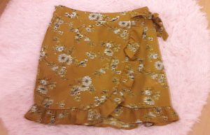 Missguided Rock Highwaist Blumen Mustard Senf Wrap 38