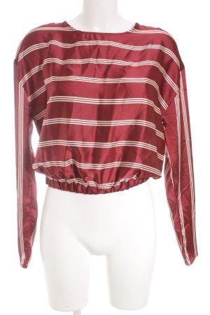 Missguided Schlupf-Bluse dunkelrot-creme Streifenmuster Elegant