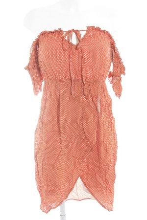 Missguided schulterfreies Kleid dunkelorange-weiß Punktemuster Boho-Look