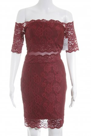 Missguided schulterfreies Kleid karminrot Elegant