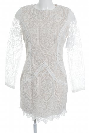 Missguided Spitzenkleid weiß-creme abstraktes Muster Elegant