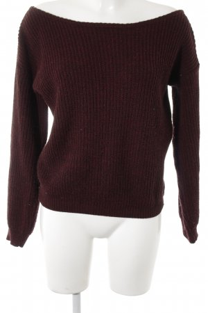 Missguided Strickpullover schwarz-bordeauxrot meliert Casual-Look