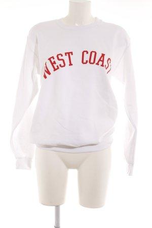 Missguided Sweatshirt weiß-rot Schriftzug gedruckt College-Look