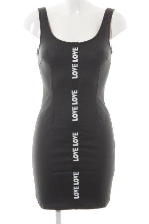Missguided Trägerkleid schwarz-weiß Schriftzug gedruckt Party-Look