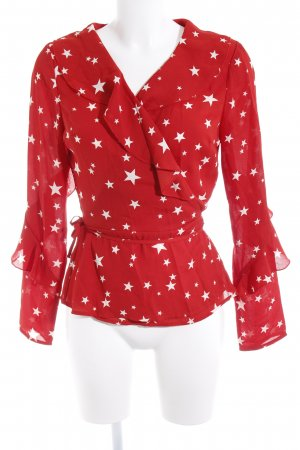 Missguided Wraparound Blouse white-red star pattern street-fashion look