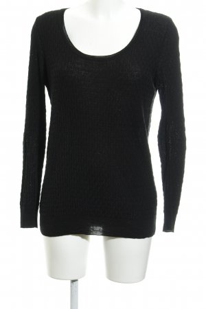 Missioni Home Strickpullover schwarz Webmuster Casual-Look