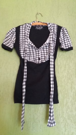 Tie-neck Blouse white-black cotton