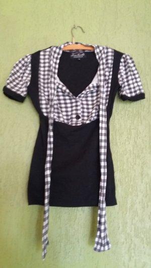 Blouse avec noeuds blanc-noir coton
