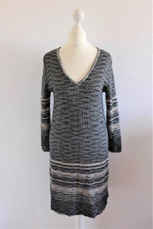 Missoni Boho Strickkleid Kleid Langarm schwarz beige nude Gr. 36 S