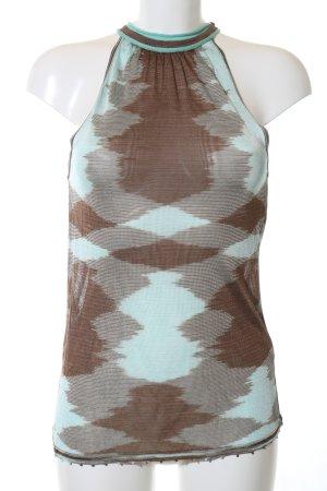 Missoni Top largo marrón-turquesa estampado con diseño abstracto look casual