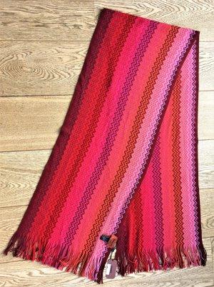 * MISSONI *  NEU & ORIGINAL !  SCHAL WOLLE ZICK ZACK FANSEN pink rrosa 200 x 35