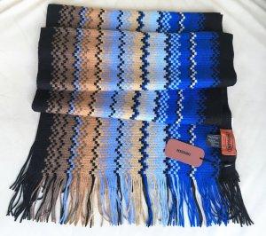 * MISSONI *  NEU  !  SCHAL WOLLE ZICK ZACK FRANSEN blau braun schwarz 200 x 35