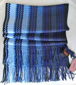 * MISSONI *  NEU  !  SCHAL WOLLE ZICK ZACK FRANSEN blau schwarz 200 x 35