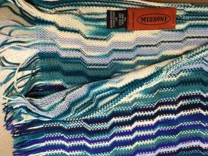 * MISSONI *  ORIGINAL ! SCHAL WOLLE ZICK ZACK FRANSEN blau weiss 190 x 40