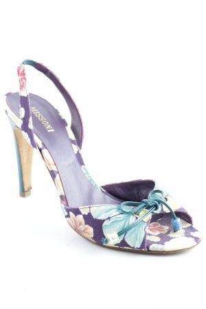 Missoni Strapped High-Heeled Sandals lilac-turquoise floral pattern