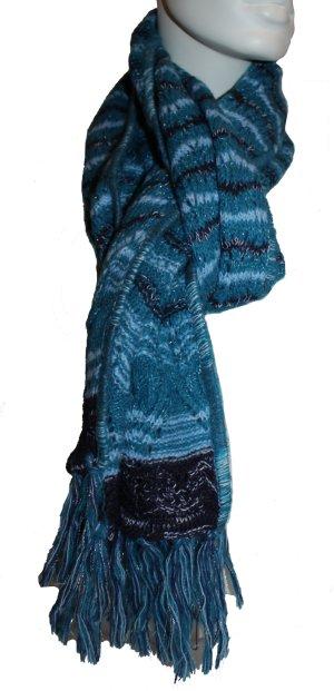 Missoni Schal, blau, mit silbernen Glitzerfäden, 35 x 205 cm