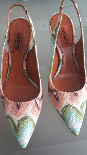 Missoni, Slingback Heels aus Leder mit Multicolor-Textilbezug