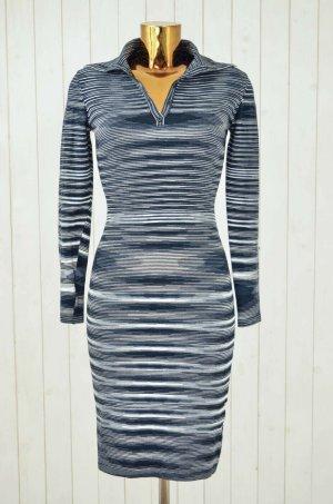 MISSONI SPORT Kleid Strickkleid Stretch Streifen Schwarz Grau Weiß ital.44/dt.38