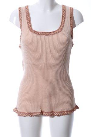 Missoni Top lavorato a maglia color carne-marrone motivo a righe stile casual